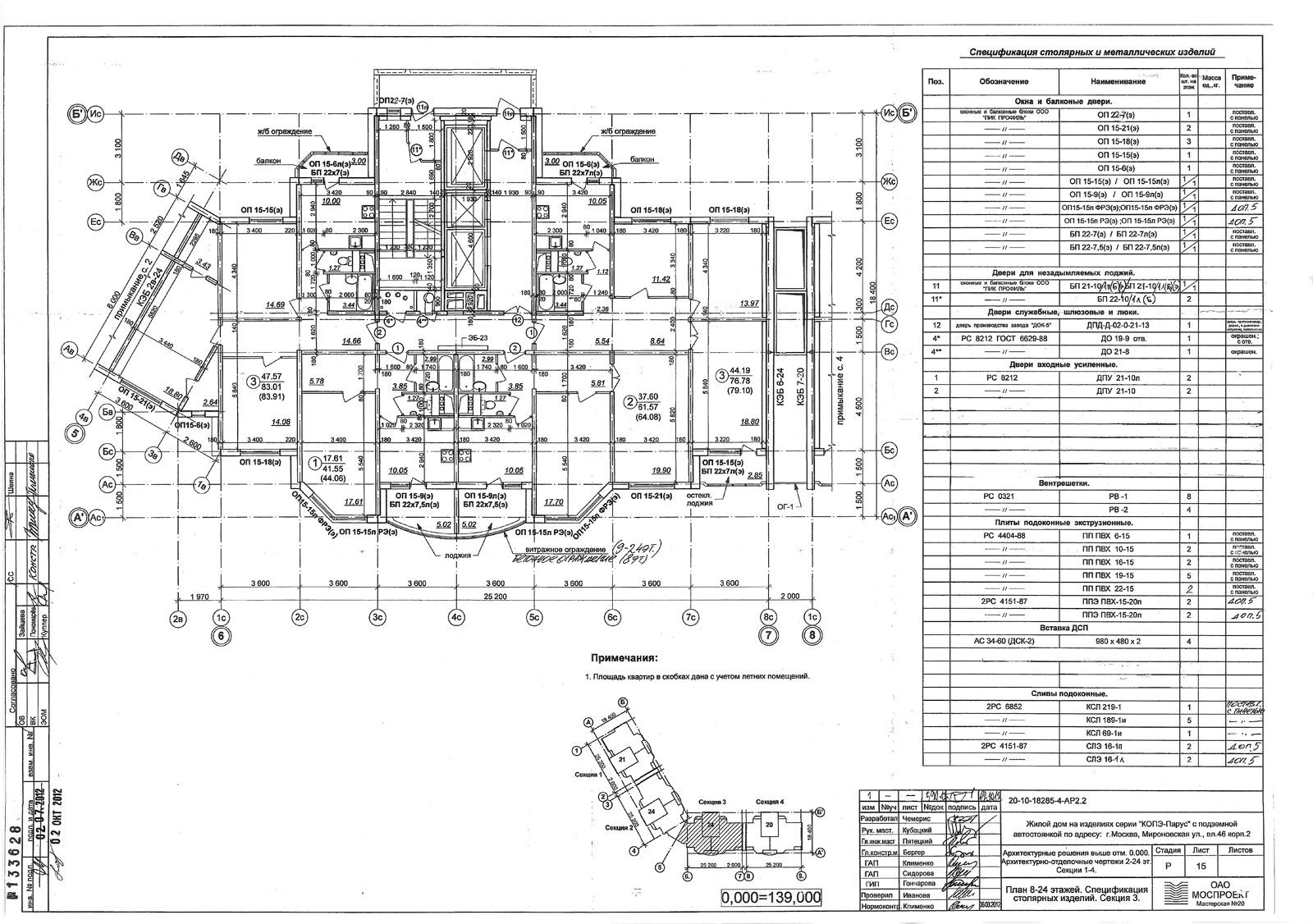 Копэ парус планировка с размерами балконов.